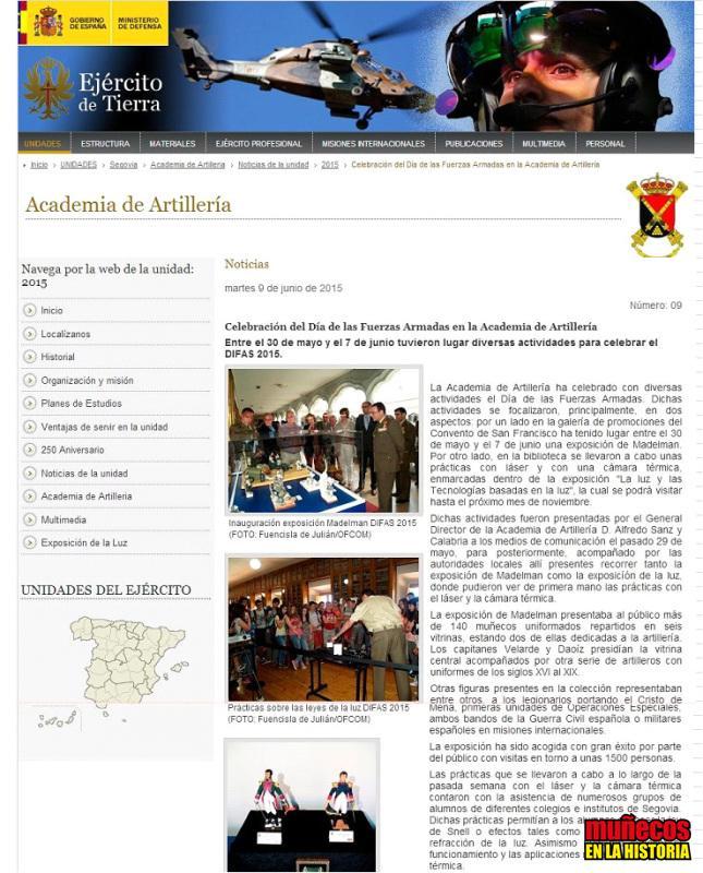 ENTREVISTA TVE Y CANAL 8 CyL – DÍA DE LAS FUERZAS ARMADAS – MUÑECOS EN LA HISTORIA Y MADELMAN EN LA ACADEMIA DE ARTILLERÍA – SEGOVIA